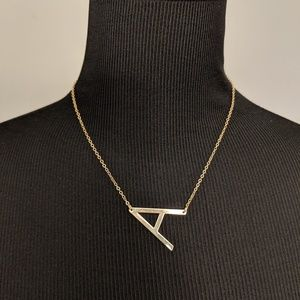 Jewelry - Block Letter A Upper Case Initial Necklace